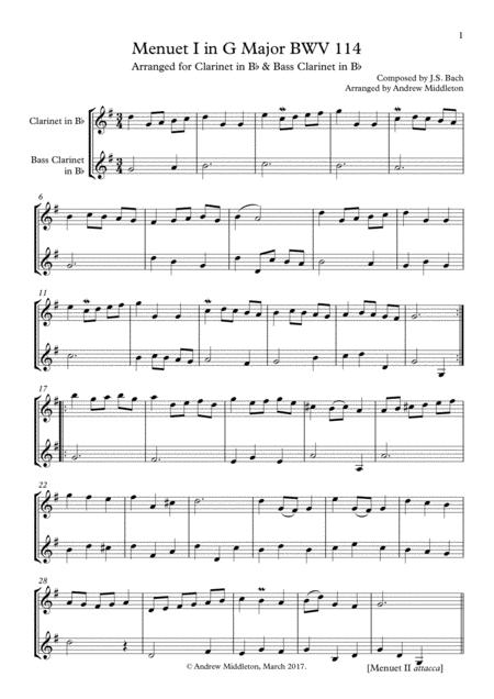 Menuet in G BWV 114/5 for Clarinet and Bass Clarinet