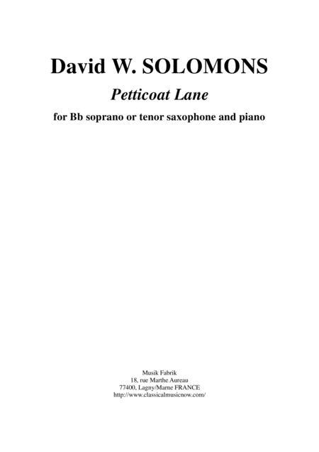 David Warin Solomons:  Petticoat Lane for Bb soprano or tenor saxophone and piano