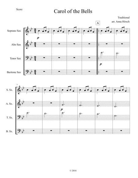 Carol of the Bells for SATB/AATB Sax Quartet