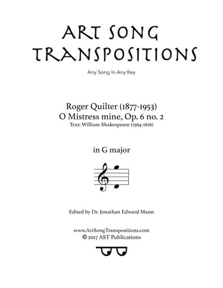 O Mistress mine, Op. 6 no. 2 (G major)