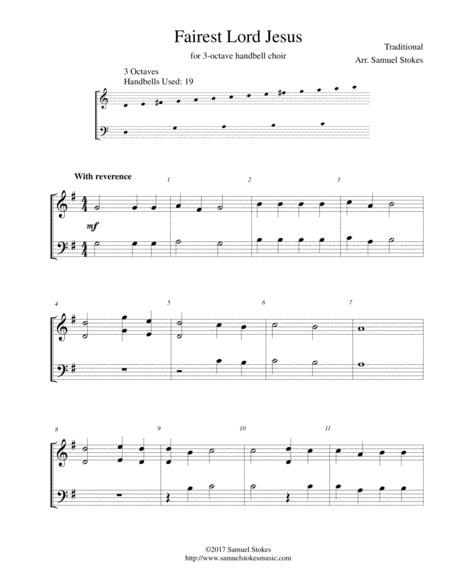 Fairest Lord Jesus - for 3-octave handbell choir