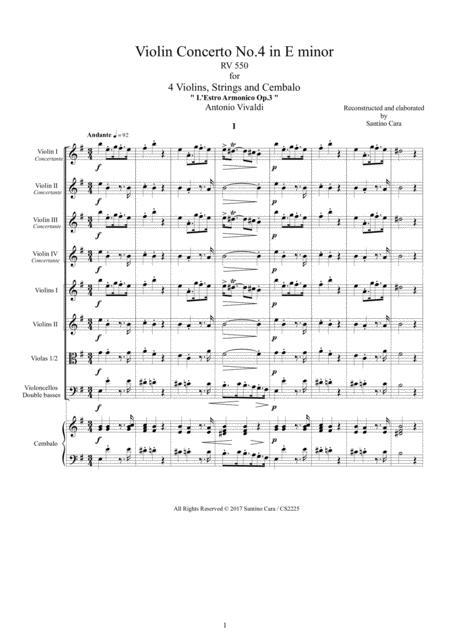 Vivaldi - Violin Concerto No.4 in E minor RV 550 Op.3 for 4 Violins, Strings and Cembalo