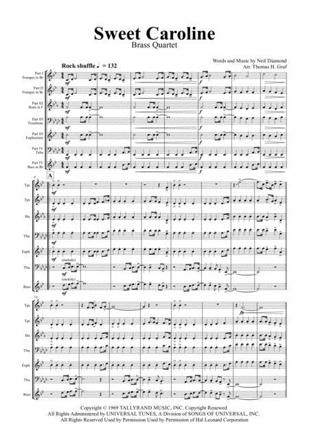 Sweet Caroline - Neil Diamond Classic - Brass Quartet