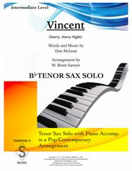 Vincent (Starry Starry Night) - TENOR SAX SOLO with PIANO