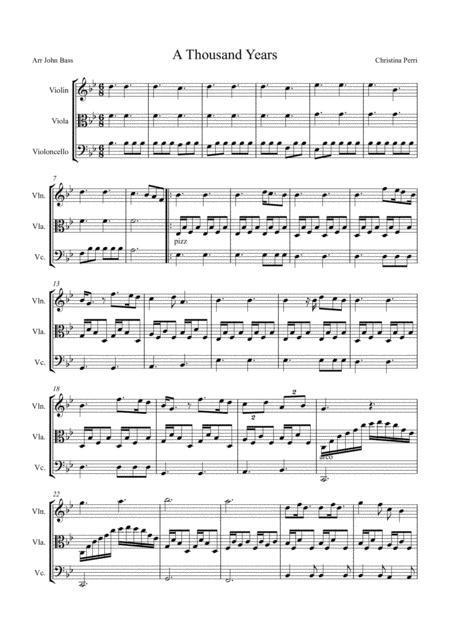 A Thousand Years by Christina Perri arranged for String Trio (Violin, Viola & 'Cello)