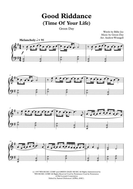 Good Riddance (Time Of Your Life) (Easy Piano)