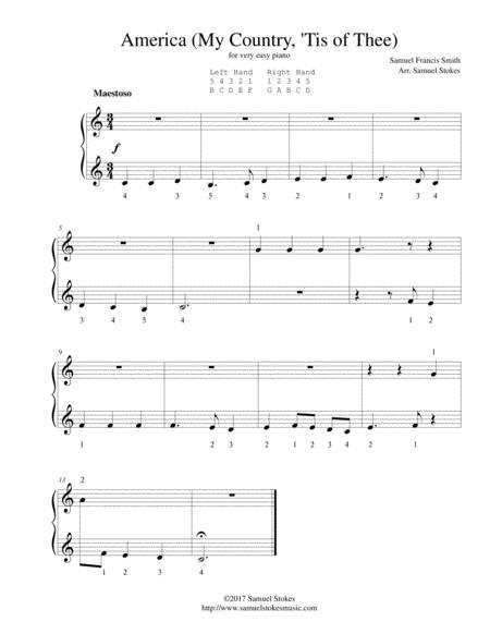 America (My Country, 'Tis of Thee) - for very easy piano