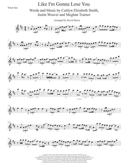 Like I'm Gonna Lose You - Tenor Sax
