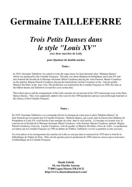 Germaine Tailleferre Trois Petits Danses dans le style