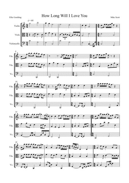 How Long Will I Love You by Ellie Goulding, arranged for String Trio (Violin, Viola and 'Cello)