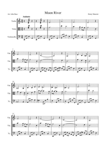 Moon River by Andy Williams, arranged for String Trio (Violin, Viola and 'Cello)