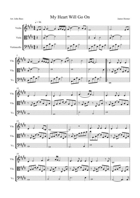 My Heart Will Go On (Love Theme from Titanic), arranged for String Trio (Violin, Viola and 'Cello)