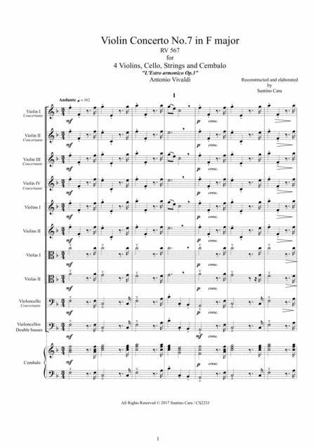 Vivaldi - Violin Concerto No.7 in F major RV 567 Op.3 for 4 Violins, Cello, Strings and Cembalo