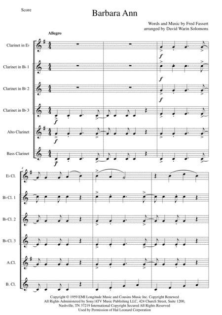 Barbara Ann for clarinet sextet or clarinet choir