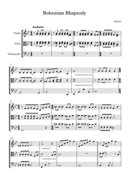 Bohemian Rhapsody by Queen, arranged for String Trio (Violin, Viola and 'Cello)