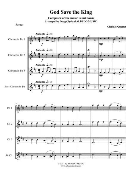 God Save the King for Clarinet Quartet