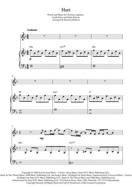 Download Hurt Sheet Music By Christina Aguilera Sheet Music Plus