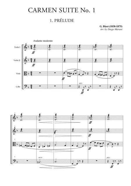 Carmen Suite No. 1 for String Quartet