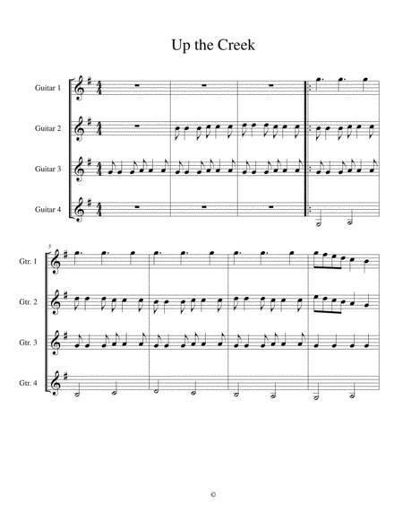 Up the Creek Score: Easy Guitar Quartet