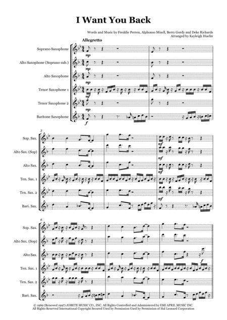 I Want You Back by The Jackson 5 - Saxophone quintet (SATTB/AATTB)