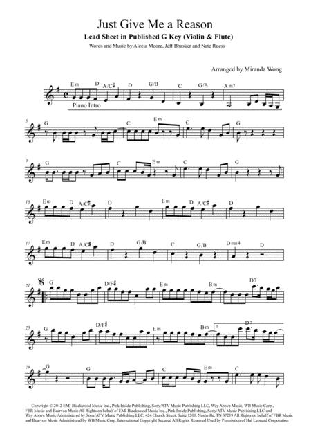 Just Give Me A Reason - Flute or Oboe Solo (With Chords)