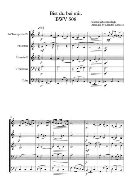 Bist du bei mir BWV 508 - Brass Quintet
