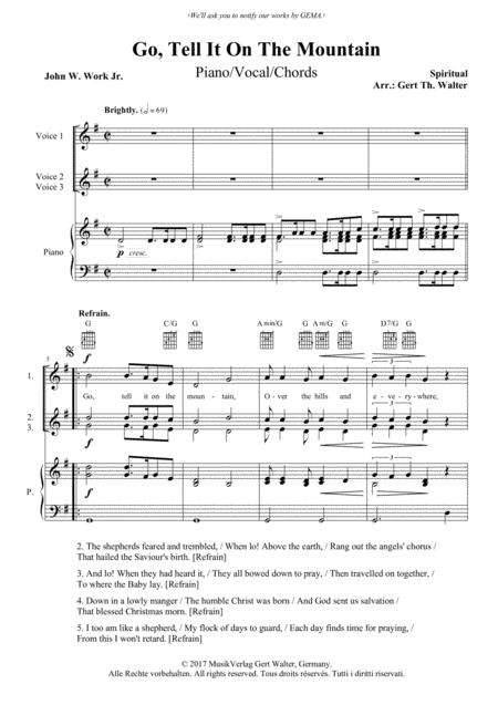 Download Go, Tell It On The Mountain Sheet Music By Spiritual ...
