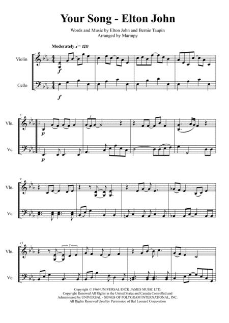 Download Your Song Elton John Arranged For String Duet Sheet