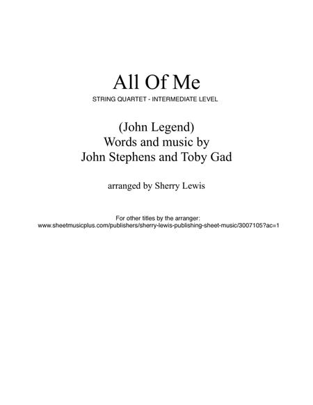 All Of Me for STRING QUARTET, String Trio, String Duo, Solo Violin, String Quartet + string bass chord chart, arranged by Sherry Lewis