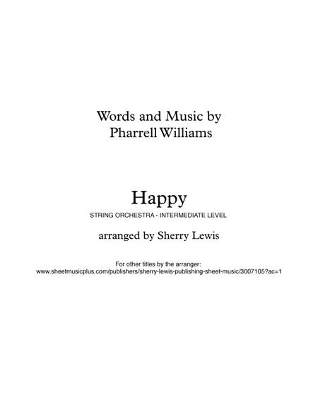 Happy for STRING QUARTET, String Trio, String Duo, Solo Violin, String Quartet + string bass chord chart, arranged by Sherry Lewis