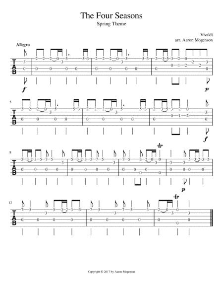 Vivaldi's Spring Theme for Guitar (TAB version)