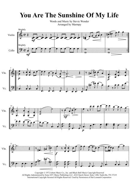 You Are The Sunshine Of My Life - Stevie Wonder (arranged for String Duet)