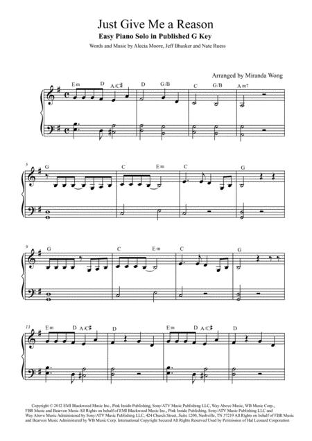 Download Just Give Me A Reason - Easy Piano Solo In Published G Key ...