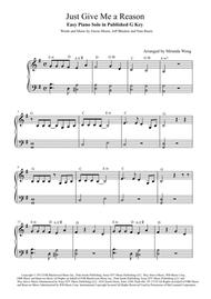 Just Give Me A Reason - Easy Piano Solo in Published G Key (With Chords)