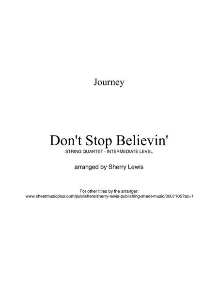 Don't Stop Believin' for STRING QUARTET, String Trio, String Duo, Solo Violin, String Quartet + string bass chord chart, arranged by Sherry Lewis