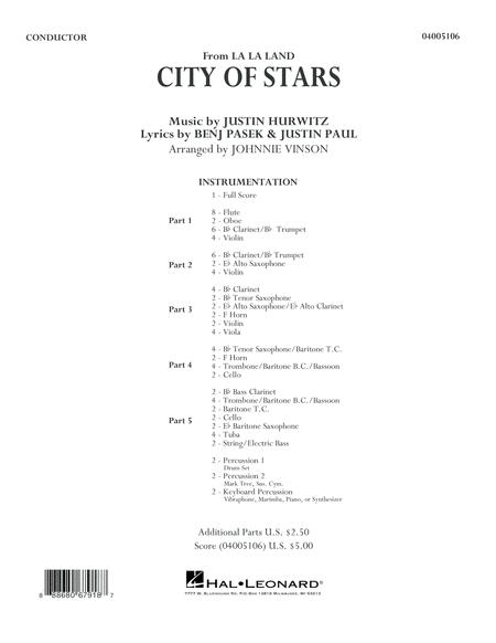 City of Stars (from La La Land) - Conductor Score (Full Score)