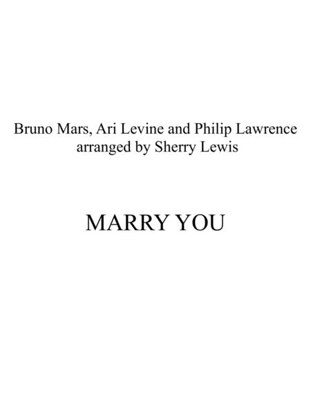Marry You for STRING QUARTET, String Trio, String Duo, Solo Violin, String Quartet + string bass chord chart, arranged by Sherry Lewis