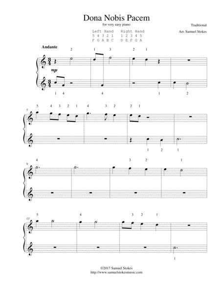 Dona Nobis Pacem (Give Us Peace) - for very easy piano