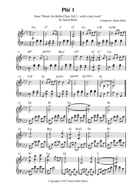 Plié 1 - Sheet Music for Ballet Class - from Music for Ballet Class Vol.3 - with a Jazz twist - by Søren Bebe