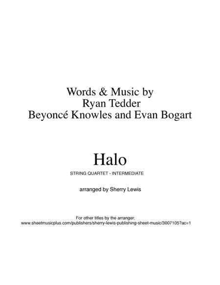 Halo STRING QUARTET, String Trio, String Duo, Solo Violin, String Quartet + string bass chord chart, arranged by Sherry Lewis