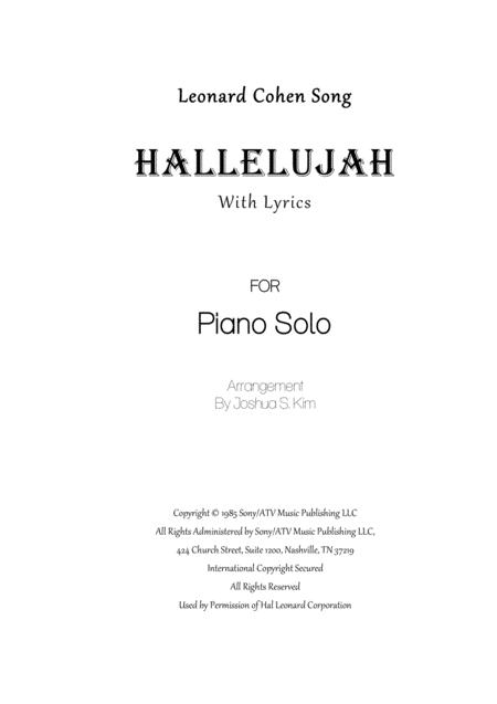 Hallelujah for Solo Piano with lyrics