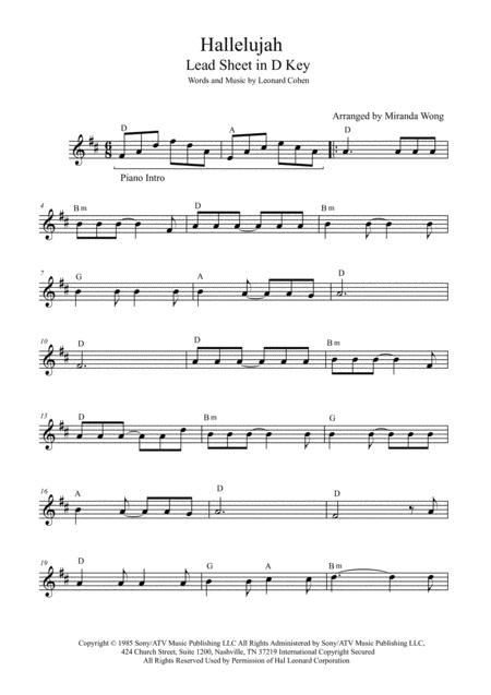Preview Hallelujah - Lead Sheet In D Key (With Chords) By Leonard ...
