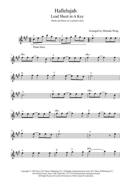 Download Hallelujah Lead Sheet In A Key With Chords Sheet Music