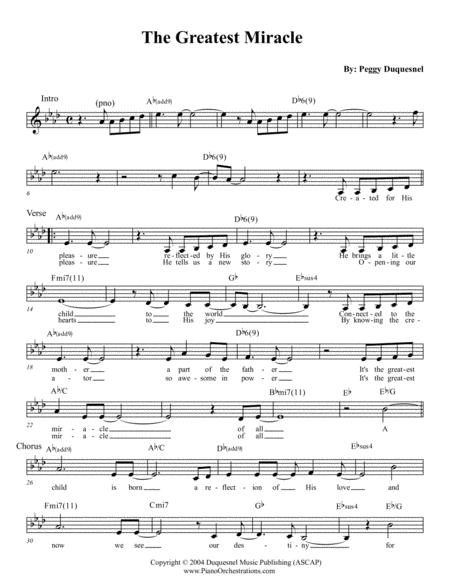 The Greatest Miracle (Lead Sheet with Lyrics)