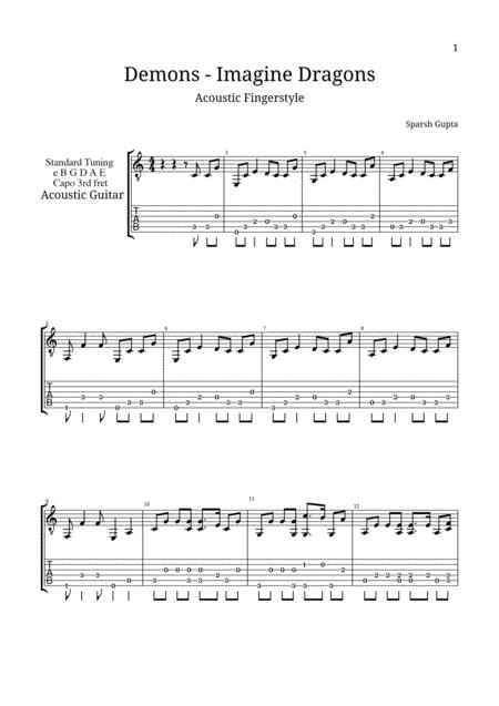 Demons (Imagine Dragons) Acoustic Fingerstyle Guitar Tab