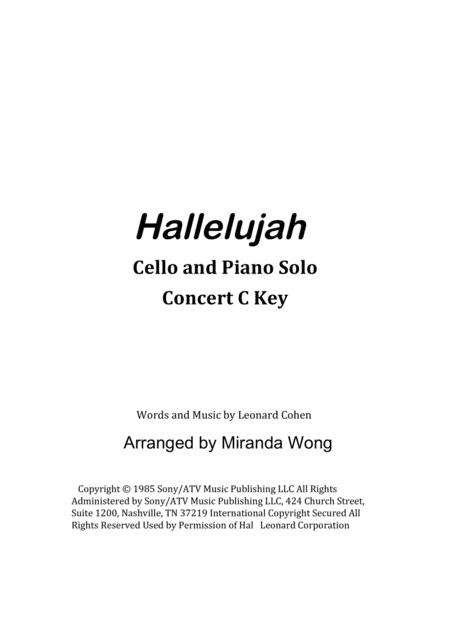 Hallelujah - Cello or Double Bass and Piano Accompaniment (With Chords)