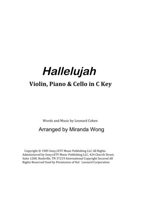 Download Hallelujah Violin Piano And Cello In C Key With Chords