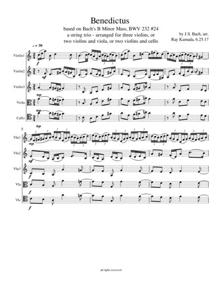 Benedictus, from the B Minor Mass, BWV 232, #24, for various string trio combinations