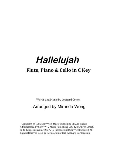 Hallelujah - Violin or Oboe, Piano and Cello in C Key