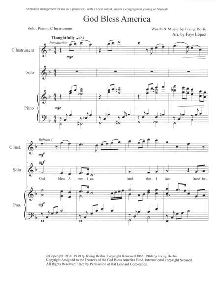 God Bless America piano/C instrument/vocal solo